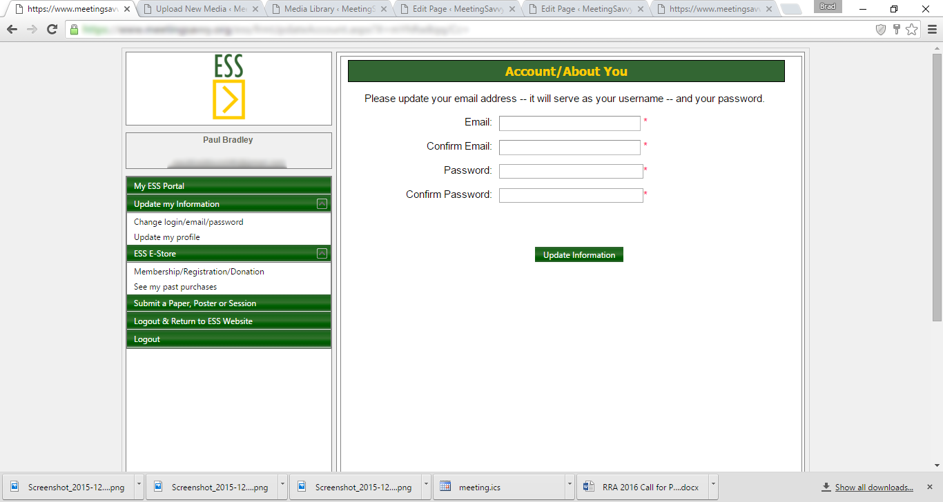 Members can use the portal to update their account login and password, as well as complete contact information.